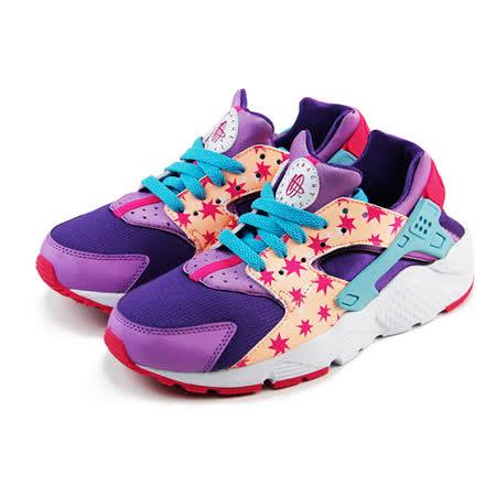 (大童)NIKE HUARACHE RUN PRINT GG 休閒鞋 紫/藍/亮桃紅-704946600