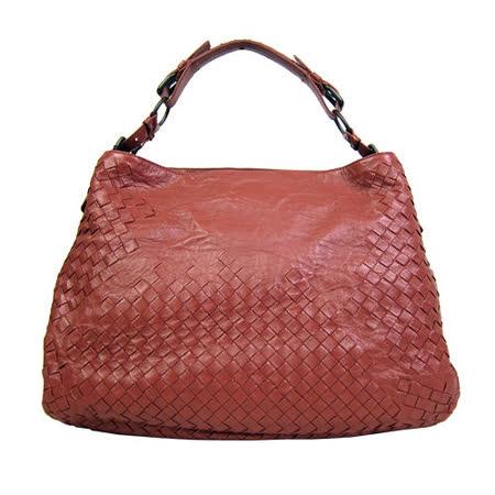 BOTTEGA VENETA特殊款造型半編織肩背包(磚紅)