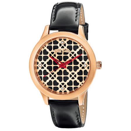 Folli Follie 幸福純粹時尚皮帶腕錶-玫瑰金X黑