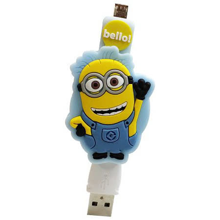 小小兵 Micro USB 造型伸縮傳輸線-淺藍