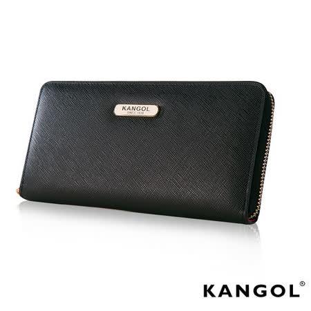 KANGOL 英國袋鼠 優雅經典風華 拉鍊長夾 十字紋頭層皮設計-黑KG1112-02