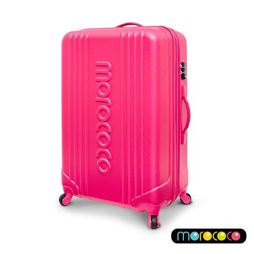 MOROCOCO繽紛卡邦-28吋超輕量ABS防刮霧面加大拉鍊行李箱(桃紅)