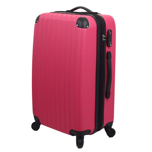 LETT台北 愛 買i 『經典簡約』24吋時尚菱格防刮旅行箱-桃紅色