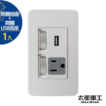 【太星電工】聯蓋帶開關-接地單插座/USB單插座(1入) A415D.