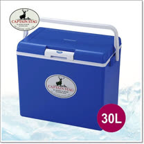 【日本鹿牌 CAPTAIN STAG】日本製 冷冰箱 30L冰桶.保冰保溫.可當露營椅/藍_M-8179