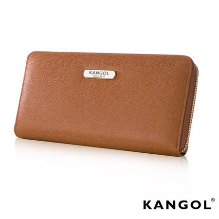 KANGOL 英國袋鼠 優雅經典風華 拉鍊長夾 十字紋頭層皮設計-咖啡KG1112-45