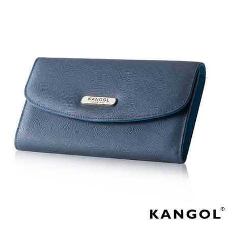KANGOL 英國袋鼠 優雅經典風華 扣式長夾 十字紋頭層皮設計-寶藍KG1113-08