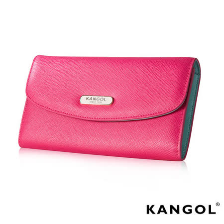 KANGOL 英國袋鼠 優雅經典風華 扣式長夾 十字紋頭層皮設計-桃粉KG1113-33