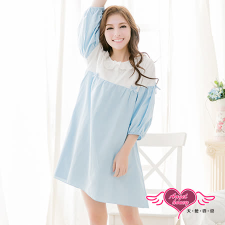 【天使霓裳】居家睡衣 布蕾絲拼接七分袖衣褲組(藍F)
