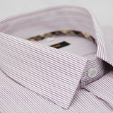 【金安德森】經典格紋繞領紫粉條紋短袖襯衫
