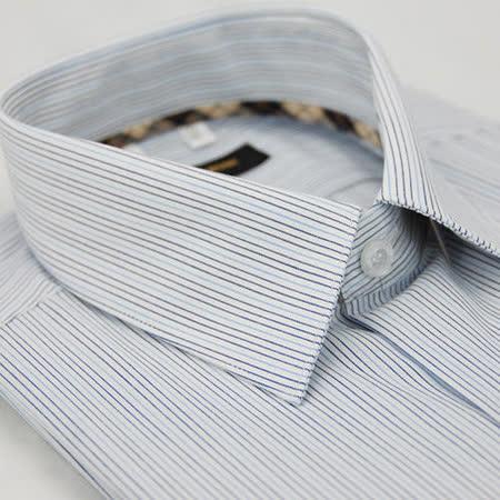 【金安德森】經典格紋繞領藍條紋短袖襯衫
