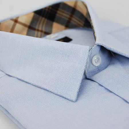 【金安德森】經典格紋繞領藍色白綴短袖襯衫