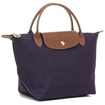Longchamp 經典高彩度可摺疊水餃包 _ 短把/小/深紫色