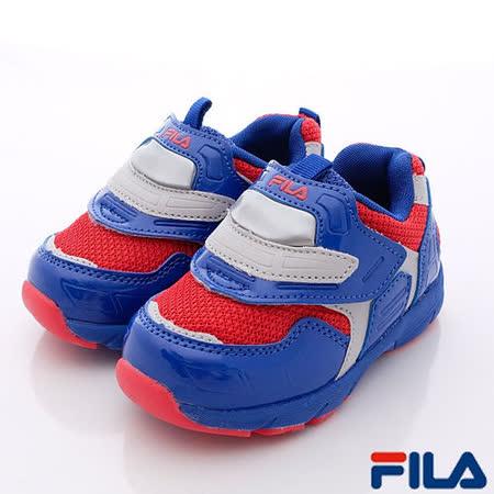FILA頂級童鞋-輕量電燈鞋款-7-J855P-342藍-小童段