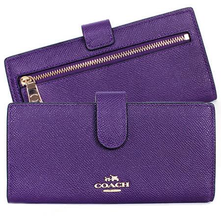COACH  馬車浮雕防刮皮革卡片長夾(紫)