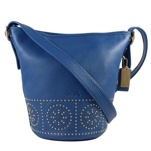 COACH 荔枝皮革壓紋鉚釘小巧兩用水桶包.藍