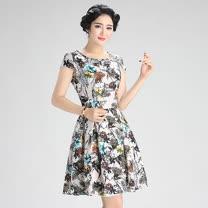 【Maya 風姿】精緻花朵印花優雅氣質連衣裙(紅藍花款 S~3XL)