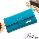 DF Flor Eden皮夾 - 甜心魅力款牛皮舌扣兩折式長夾-湖水藍