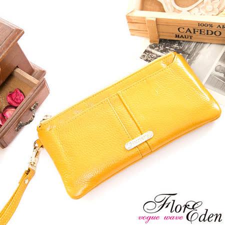DF Flor Eden皮夾 -  俏莉漾女真皮可拆式單拉鍊長夾-陽光黃