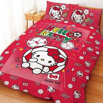 名流寢飾 Hello Kitty瘋足球兩用鋪棉被套床包組 標準雙人