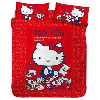 名流寢飾 Hello Kitty我的遊戲房兩用鋪棉被套床包組 -單人加大