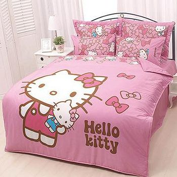名流寢飾 Hello Kitty兩用鋪棉被套床包組 -單人加大