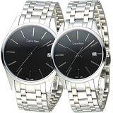 cK TIME 極簡風藍寶石水晶鏡面對錶-黑(K4N21141/K4N23141)