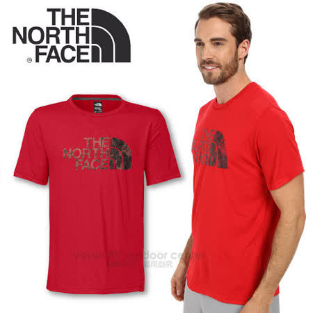 【美國 The North Face】男新款 FlashDry 閃電快乾短袖快排衣 /CEZ2 紅