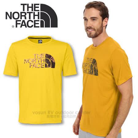 【美國 The North Face】男新款 FlashDry 閃電快乾短袖快排衣 /CEZ2 黃