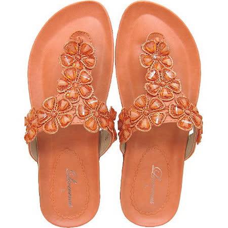 【波克貓哈日網】造型夾腳拖◇Lovevenus◇《橘色花朵鞋面》