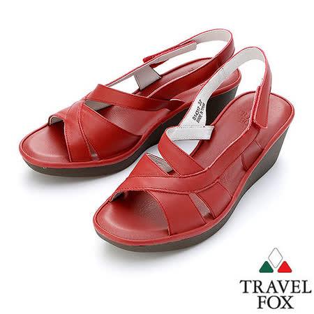 【女】Travel Fox  2吋舒適低跟涼鞋914317(紅-04)