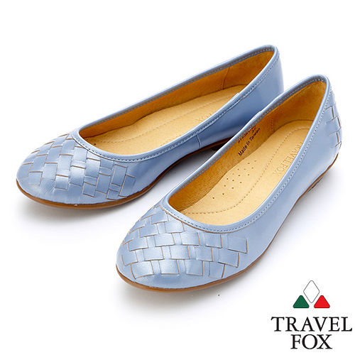 ~女~Travel Fox SOFT~羊皮編織平底鞋914361^(淺藍~77^)