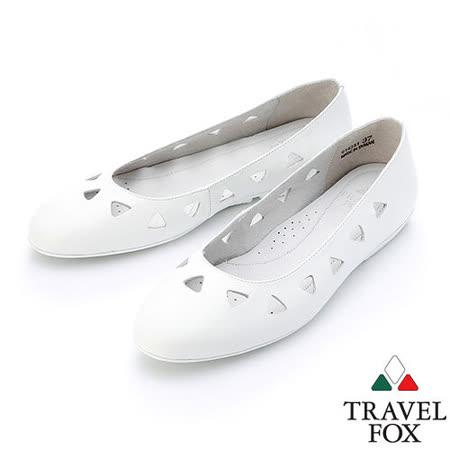 【女】Travel Fox  SOFT-柔軟平底娃娃鞋914331(白-07)