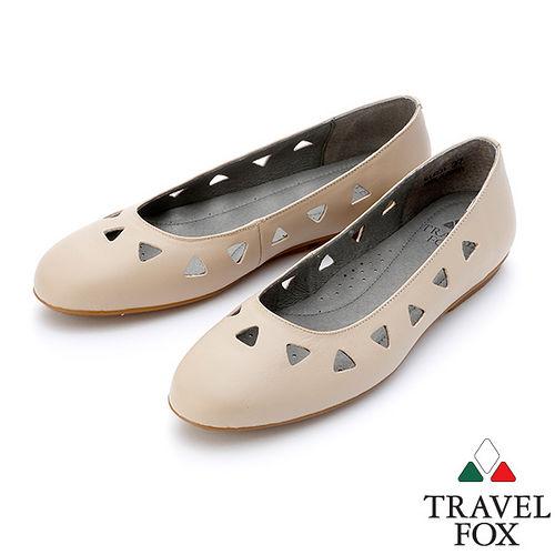~女~Travel Fox SOFT~柔軟平底娃娃鞋914331^(米灰~06^)