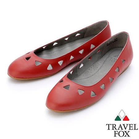 【女】Travel Fox  SOFT-柔軟平底娃娃鞋914331(紅-04)