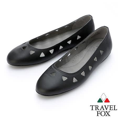 【女】Travel Fox  SOFT-柔軟平底娃娃鞋914331(黑-01)