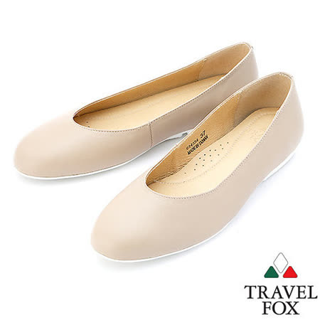 【女】Travel Fox  SOFT-柔軟舒適平底娃娃鞋914334(米灰-06)