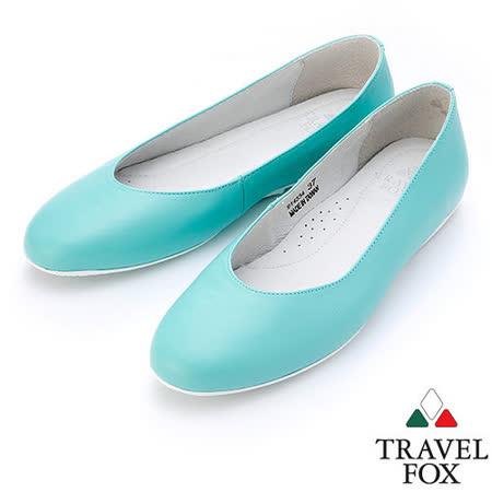 【女】Travel Fox  SOFT-柔軟舒適平底娃娃鞋914334(淺藍-77)