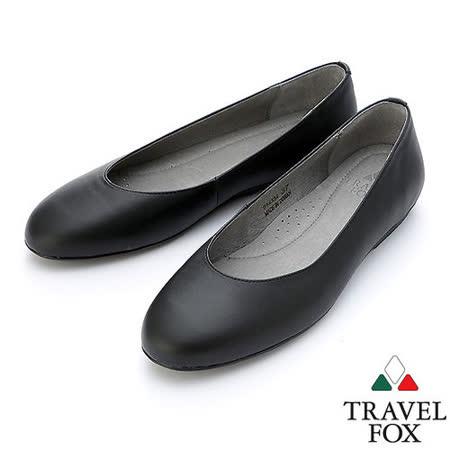 【女】Travel Fox  SOFT-柔軟舒適平底娃娃鞋914334(黑-01)