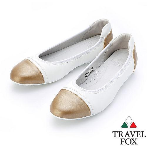 ~女~Travel Fox SOFT~柔軟鬆緊邊平底娃娃鞋914333^(金~00^)