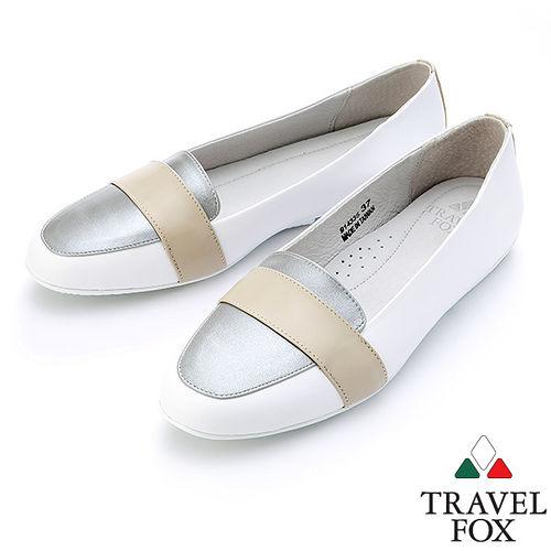 ~女~Travel Fox SOFT~織帶平底娃娃鞋914335^(白~07^)