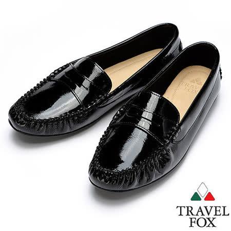 Travel Fox SOFT-漆皮平底休閒鞋914336(黑-01)