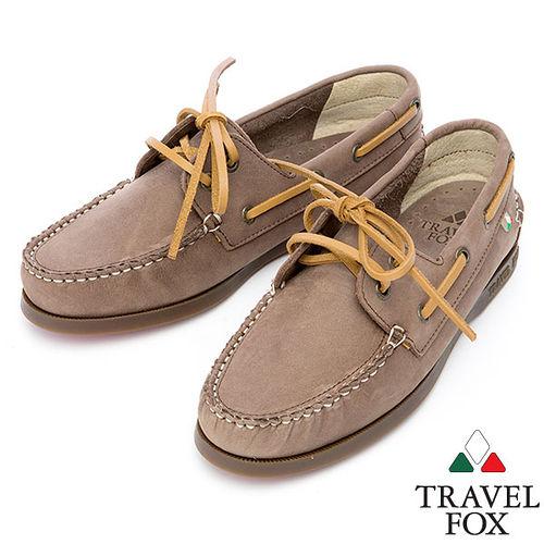 Travel Fox STYLE~反毛皮帆船鞋914828^(沙~59^)