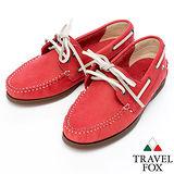 Travel Fox STYLE-反毛皮帆船鞋914828(紅-04)