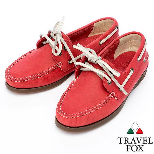 Travel Fox STYLE~反毛皮帆船鞋914828^(紅~04^)