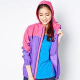 FIVE UP-俏麗剪接抗UV風衣連帽薄外套-紫