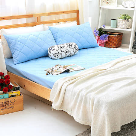 美夢元素 繽紛馬卡龍保潔床墊-雙人加大〈果漾藍〉
