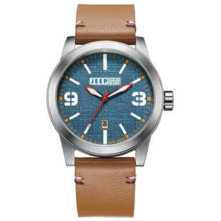 JEEP SPIRIT 翻玩丹寧休閒皮帶錶-銀框藍x淺咖啡色皮帶