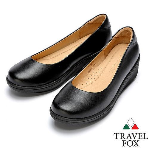 Travel Fox SOFT~2吋厚底舒適鞋914362^(黑~01^)