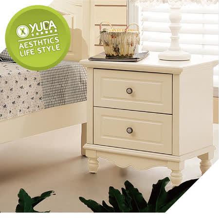 床頭櫃【YUDA】 公主專屬 BG800 象牙白 (實木)床頭櫃/床邊櫃 鄉村風 田園家具
